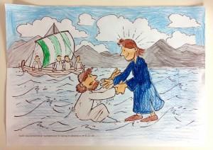 Jesus rettet Petrus aus dem Wasser